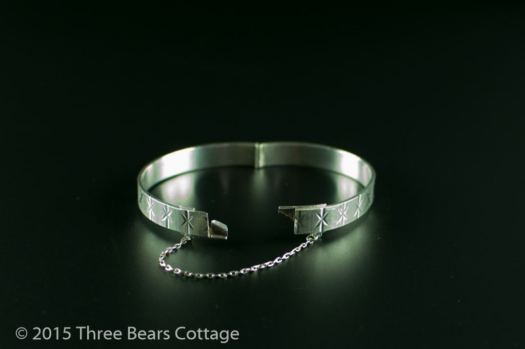 Silver Bangle with Engraved Star Design