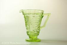 Sowerby Green Vaseline Glass Jug
