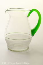 Half Frosted Glass Jug with Green Handle
