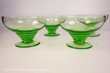 Green Glass Dessert Bowls