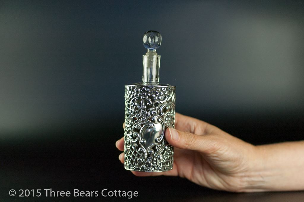 Henry Matthews Pierced Solid Silver Scent Bottle and Holder