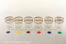 Gold Rimmed Shot Glasses with Original Box
