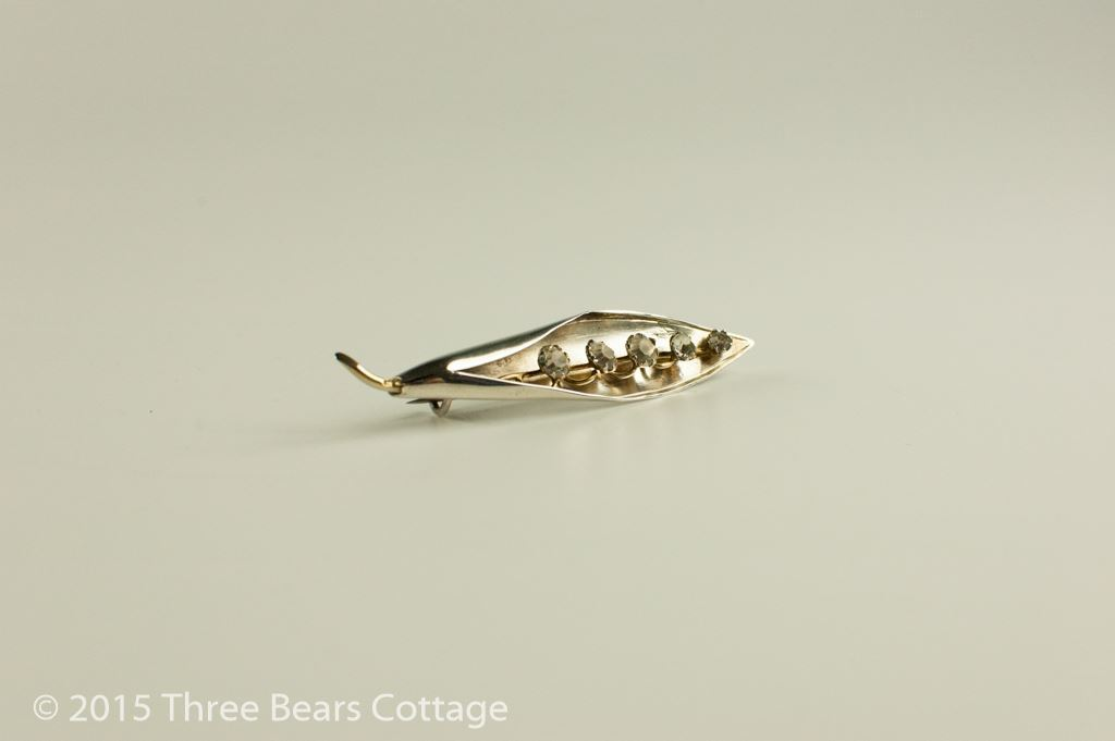 Silver Gold and Diamante Lily of the Valley Brooch