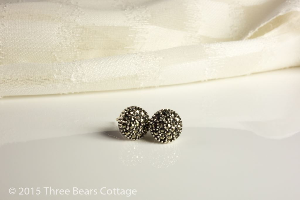 Silver Diamante Round Stud Earrings