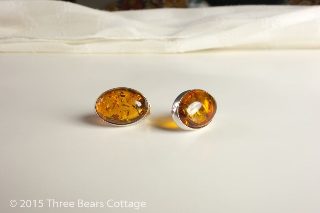 Amber and Silver Oval Stud Earrings