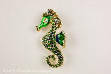Green Enamel Seahorse Brooch