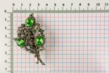 Green Rhinestone Floral Brooch