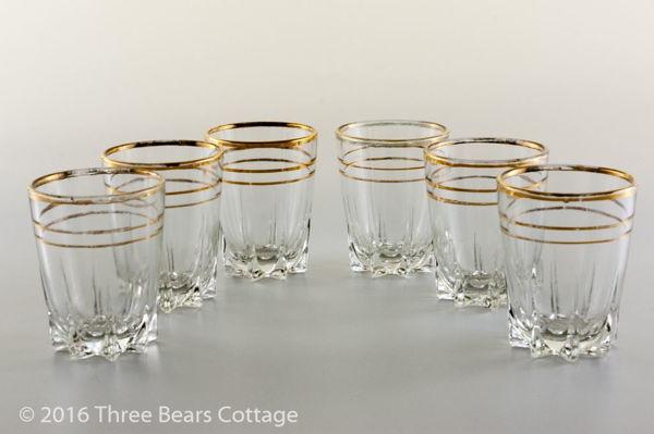 Large Gold Rimmed Shot Glasses