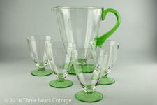 Green Footed Glass Jug and Glasses