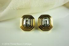 Napier Large Cut Glass Stud Earrings