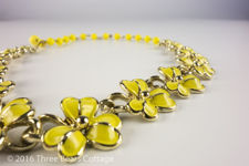 Coro Yellow Enamel Flower Necklace