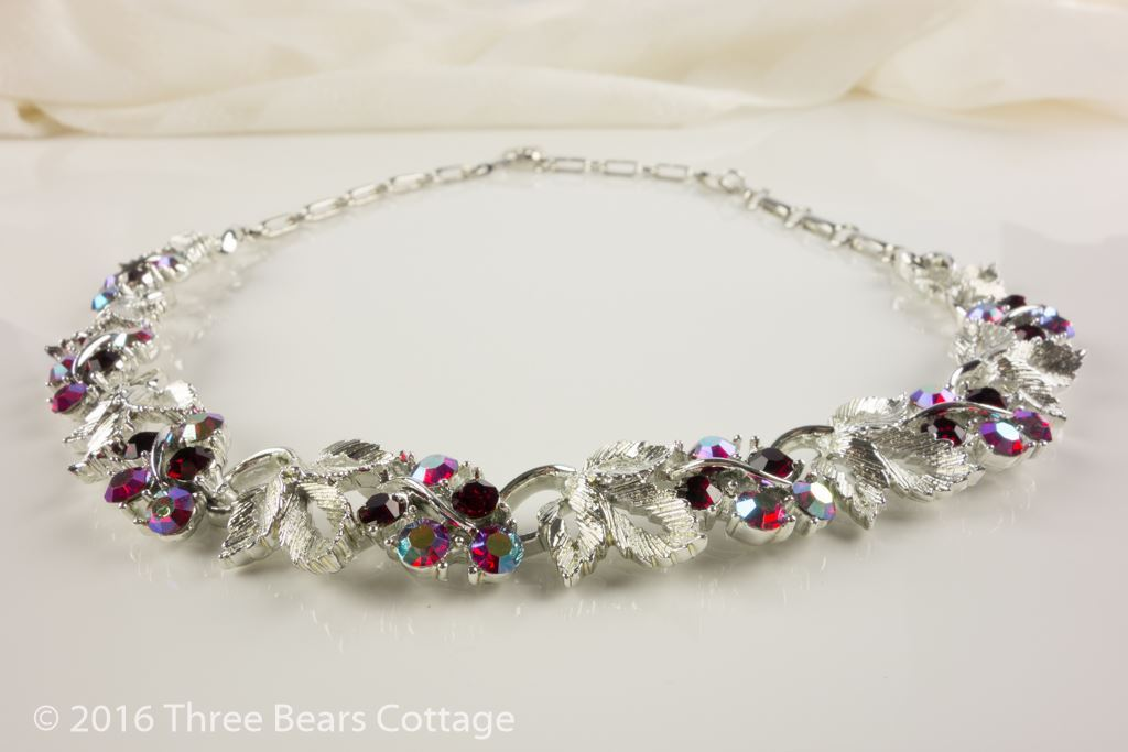 Lisner Aurora Borealis Leaf Necklace