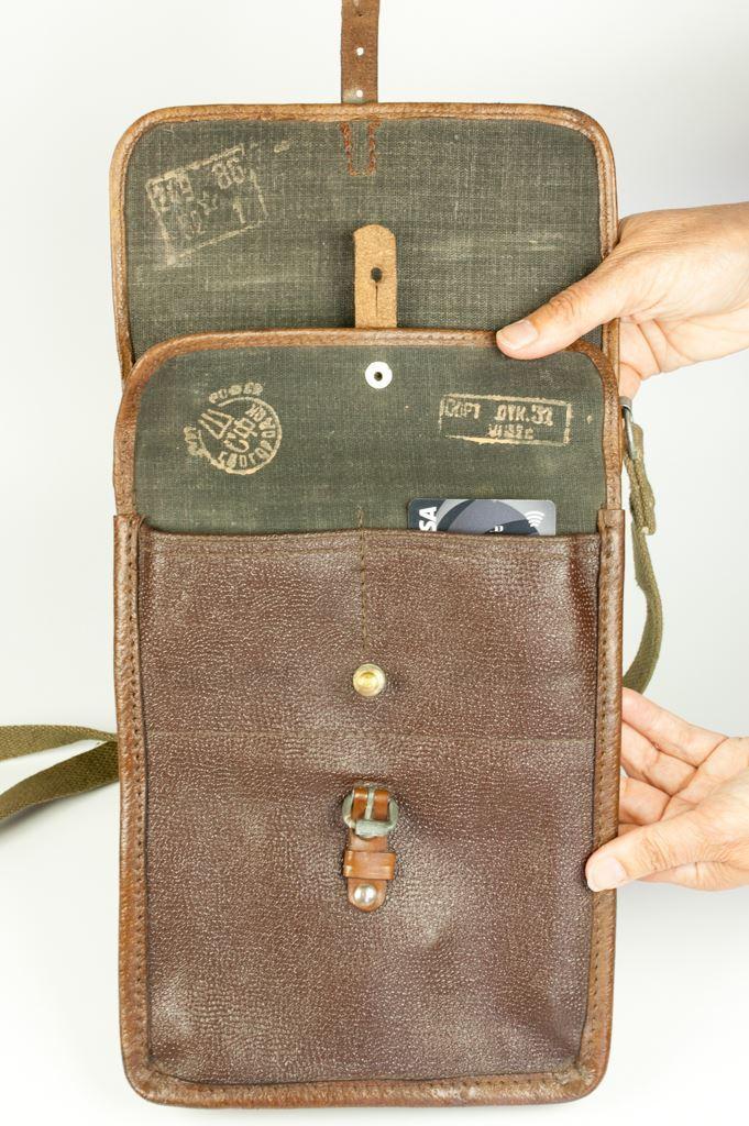 Small Brown Military Map Bag