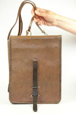 Large Brown Leather Military Map Bag