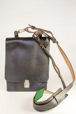 Black Leather Military Messenger Bag