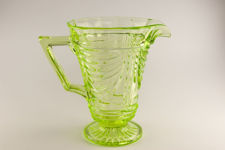 Sowerby Green Vaseline Glass Jug and Glasses