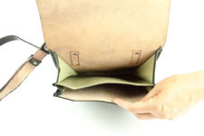 Black Leather Military Map Bag