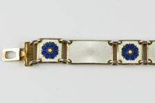 David Andersen Vermeil Sterling Silver Bracelet Of White Panels and Blue Flowers