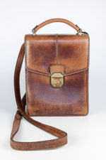 Small Brown French Leather Shoulder Bag