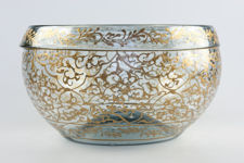 Large Handmade Gold-Painted Glass Bowl