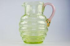 Green Vaseline Glass Jug With Cranberry Handle
