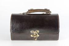 Small Dark Brown Leather Barrel Bag