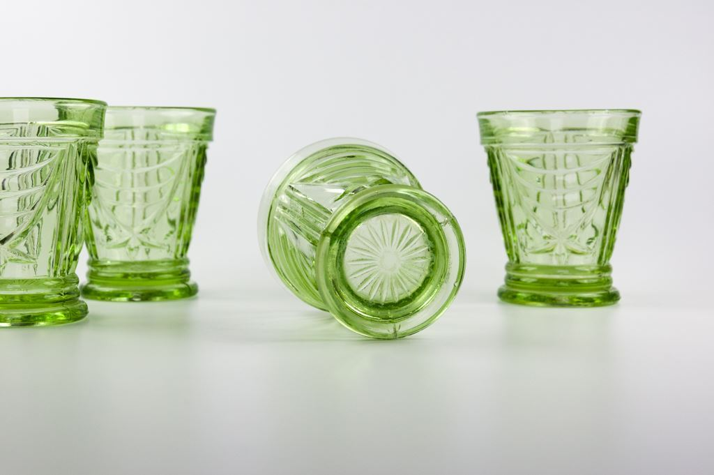 Sowerby Four Green Glass Tumblers