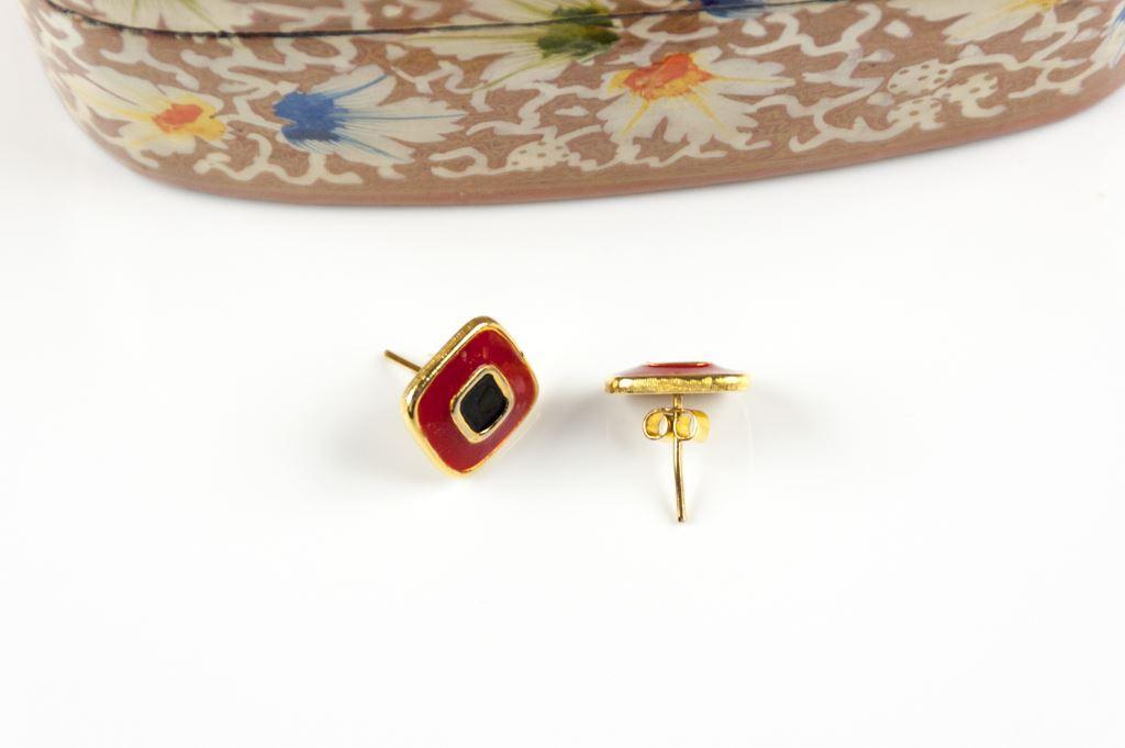 Jomaz Red and Black Enamelled Earrings