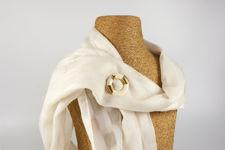 Monet White Circular Brooch