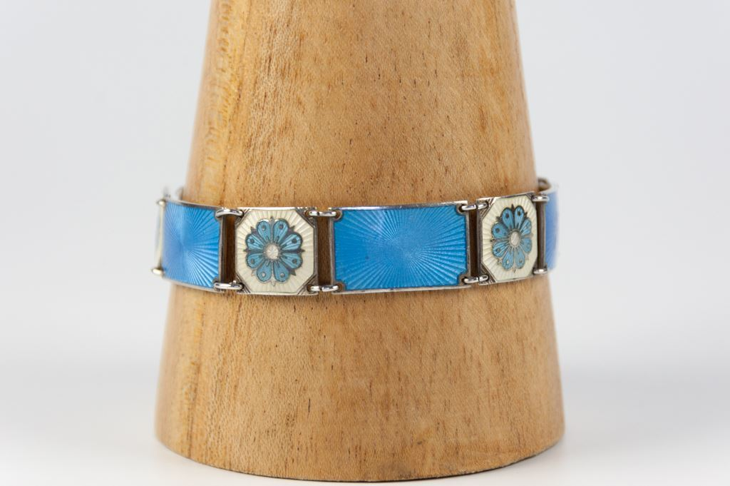 David Andersen Sterling Silver Bracelet Of Blue and White Panels and Blue Flowers