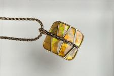 Monet Square Pendant Shell Necklace