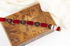 David Andersen Vermeil Sterling Silver Bracelet Of Red and Black Panels and Red Flowers