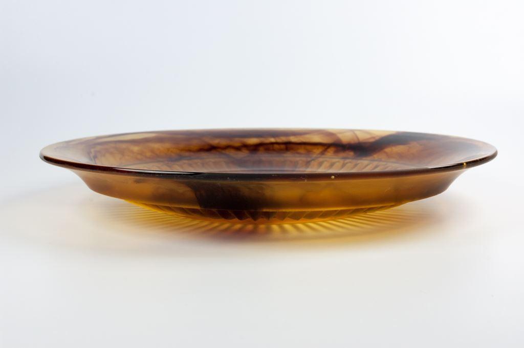George Davidson Amber Cloud Glass Pattern 9421 Plate