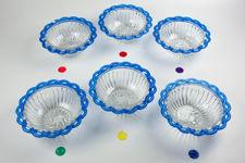 Blue Lattice Glass Dessert Bowls