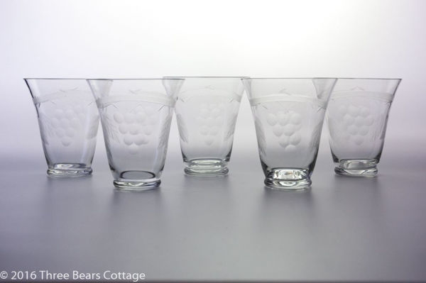 Edwardian Etched Glass Tumblers