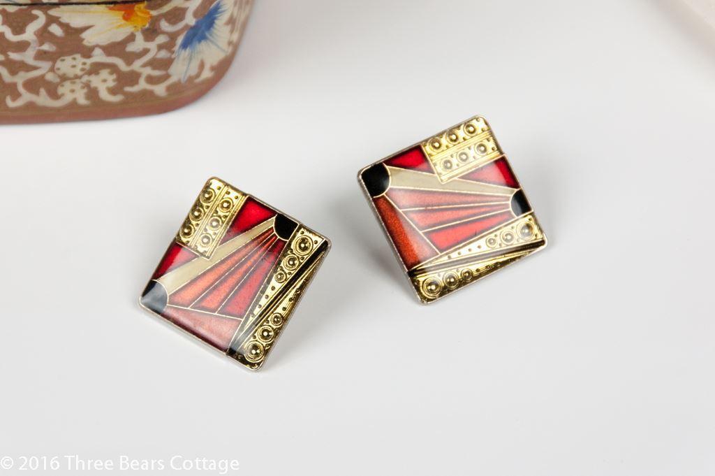 Square Art Deco Pierre Bex Style Earrings