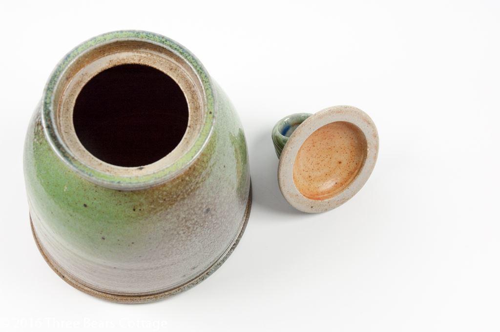 Jane Hamlyn Green Salt Glazed Leaning Jar