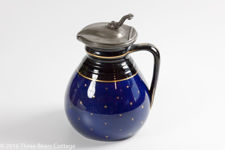 Victorian Blue & Black Round Jug With Pewter Lid