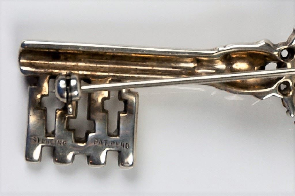 Trifari Sterling Silver Key Brooch