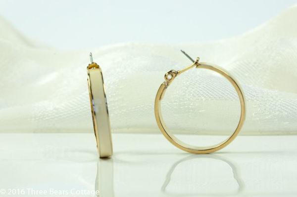 Monet Cream Enamel Hoop Earrings