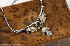 Coro Rhinestone Drop Pendant Necklace