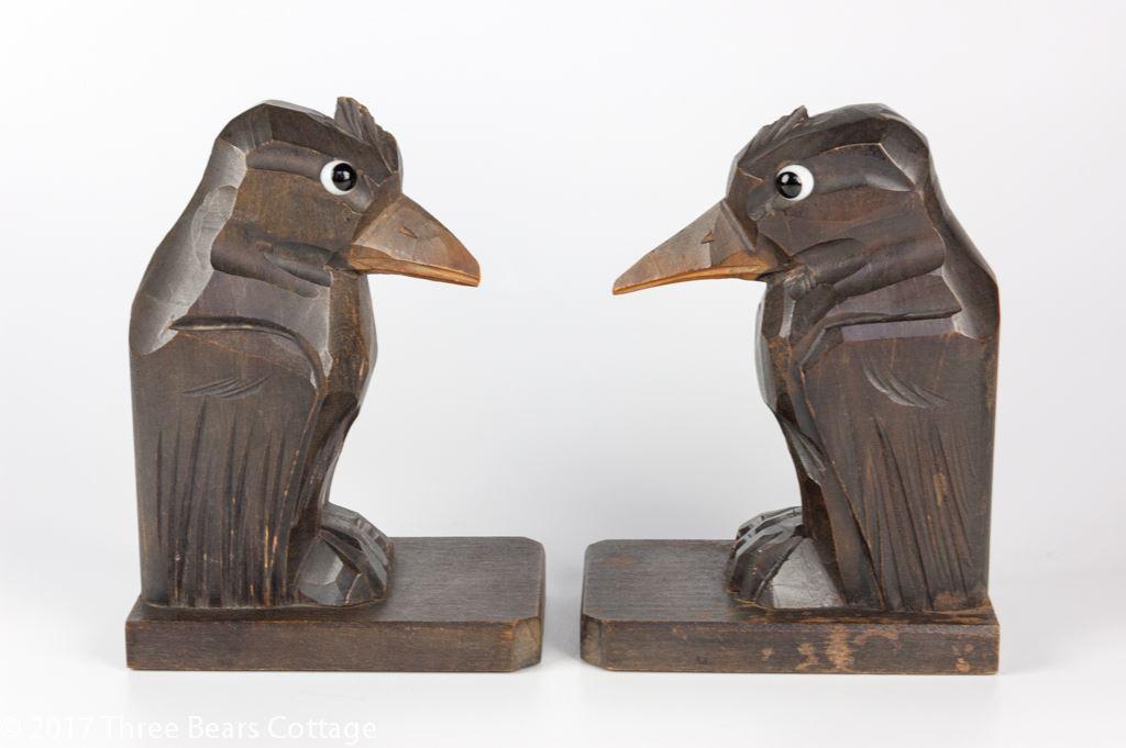 Art Deco Wooden Bird Bookends