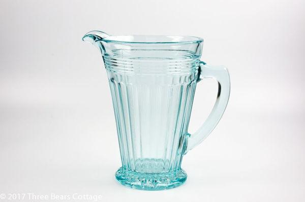 Large Pale Blue Ribbed Glass Jug