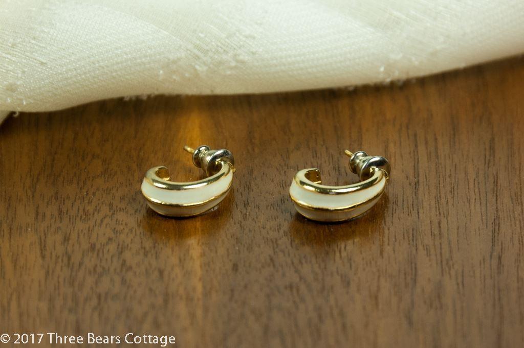 White Enamel Half Hoop Earrings