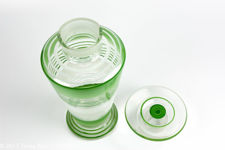 Art Deco Green Striped Liqueur Set