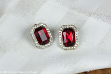 Red Crystal and Diamante Pavé Earrings