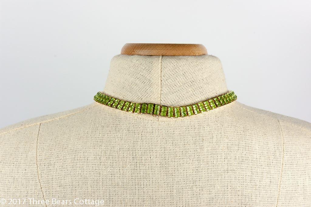 Weiss Green Rhinestone Collar Necklace
