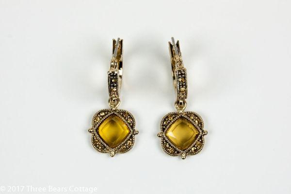 Monet Citrine Rhinestone Earrings
