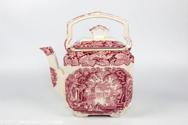 "Mason's ""Red Vista"" Ironstone Teapot"