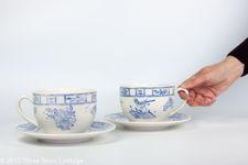 Gien Oiseau Bleu Jumbo Breakfast Cups & Saucers